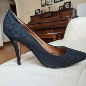 Coach Black Fabric & Leather Pumps Pointed Toe